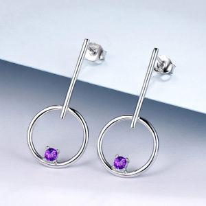 Natural Purple Amethyst Silver Drop Earrings